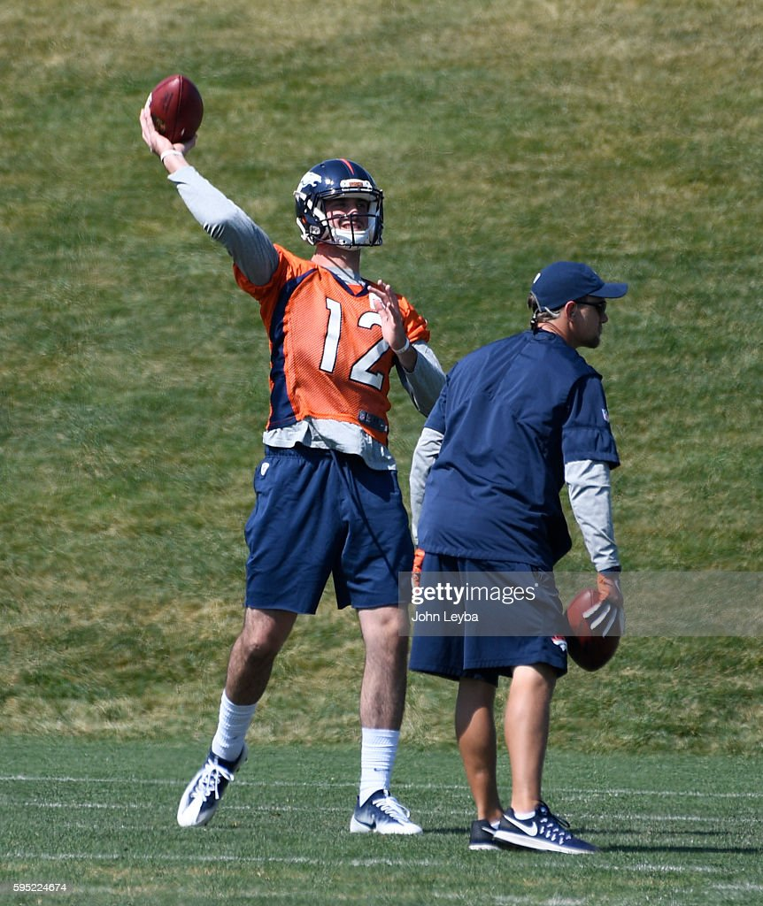 Denver Broncos quarterback Paxton Lynch throws a pass during practice August 26 2016 at Dove Valley