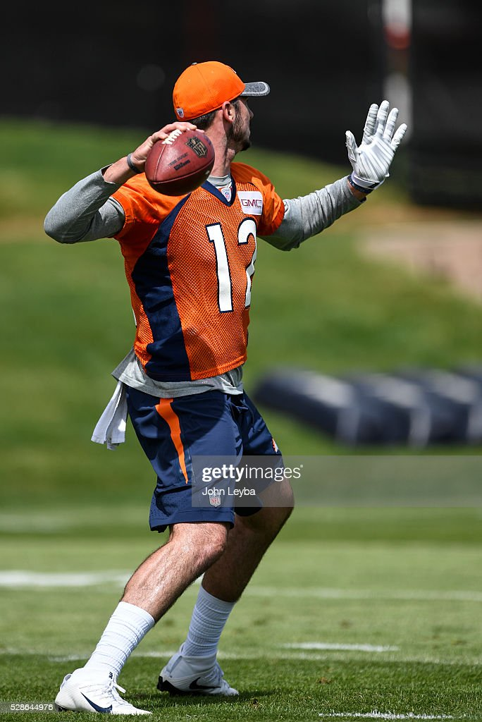 Denver Broncos quarterback Paxton Lynch (12) throws a pass during rookie minicamp May 6, 2016 at UCHealth Training Facility.