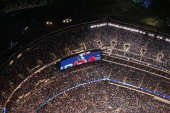 Denver Broncos quarterback Peyton Manning appears on a jumbotron while playing the Seattle Seahawks in Super Bowl XLVIII at MetLife Stadium on...