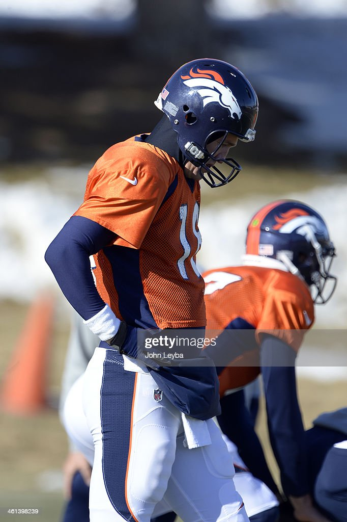 Denver Broncos quarterback Peyton Manning (18) during drills at practice January 8, 2014 at Dove Valley. The Denver Broncos are preparing for their Divisional Game against the San Diego Chargers at Sports Authority Field.