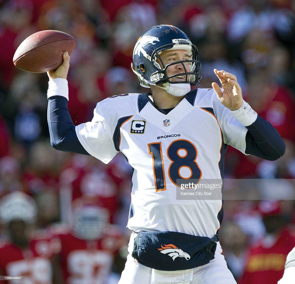 Denver Broncos quarterback Peyton Manning (18) throws a pass to wide receiver Brandon Stokley in the first quarter at Arrowhead Stadium on Sunday, November 25, 2012, in Kansas City, Missouri. The Denver Broncos defeated the Kansas City Chiefs, 17-9.