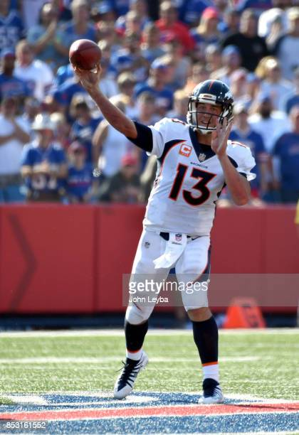 Denver Broncos quarterback Trevor Siemian throws a pass downfield late in the fourth quarter against the Buffalo Bills on September 24 2017 at New...