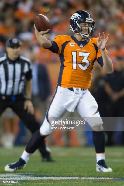 Denver Broncos quarterback Trevor Siemian throws during the Los Angeles Chargers vs Denver Broncos Monday Night Football game on September 11 at...