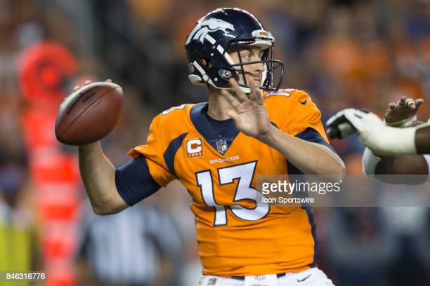Denver Broncos quarterback Trevor Siemian throws the ball during the Los Angeles Chargers vs Denver Broncos Monday Night Football game on September...