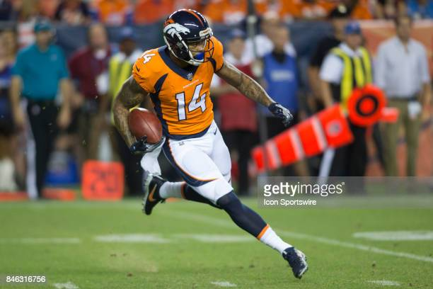 Denver Broncos receiver Cody Latimer runs the ball during the Los Angeles Chargers vs Denver Broncos Monday Night Football game on September 11 at...