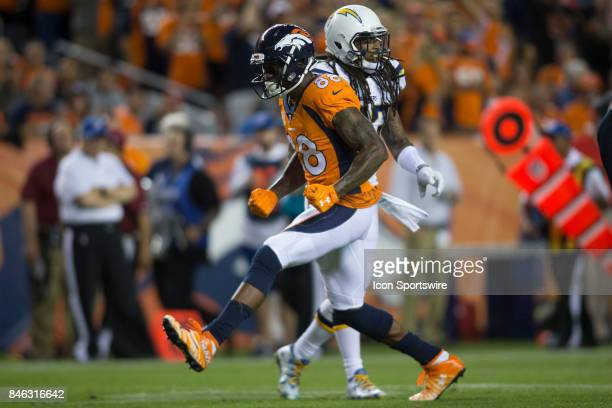 Denver Broncos receiver Demaryius Thomas celebrates after picking up a first down during the Los Angeles Chargers vs Denver Broncos Monday Night...