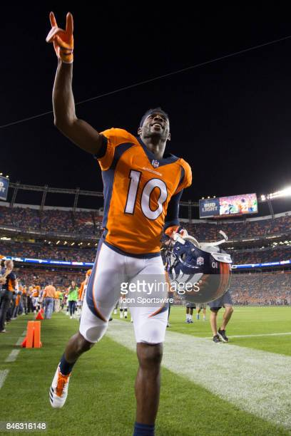Denver Broncos receiver Emmanuel Sanders runs off the field before the Los Angeles Chargers vs Denver Broncos Monday Night Football game on September...