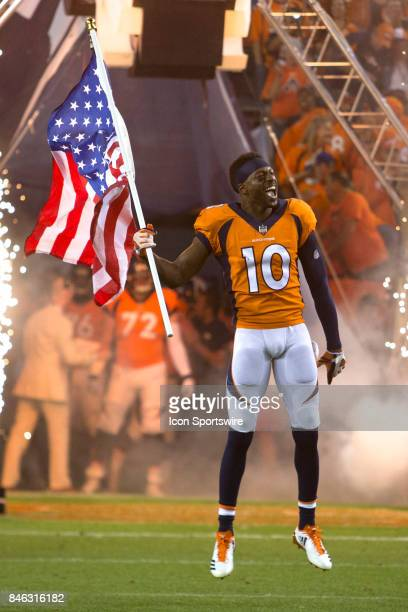 Denver Broncos receiver Emmanuel Sanders runs onto the field during the Los Angeles Chargers vs Denver Broncos Monday Night Football game on...