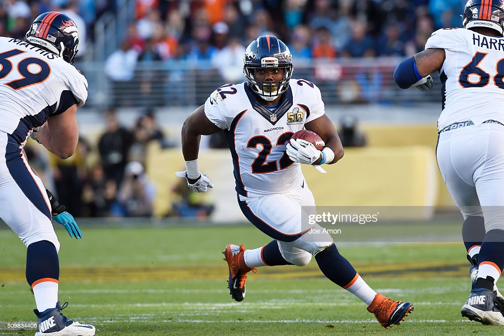 Denver Broncos running back <a gi-track='captionPersonalityLinkClicked' href=/galleries/search?phrase=C.J.+Anderson+-+American+Football+Player&family=editorial&specificpeople=11333631 ng-click='$event.stopPropagation()'>C.J. Anderson</a> (22) picks up 8 yards for a first down in the first quarter against the Carolina Panthers in Super Bowl 50 at Levi's Stadium in Santa Clara, Calif. on February 7, 2016.