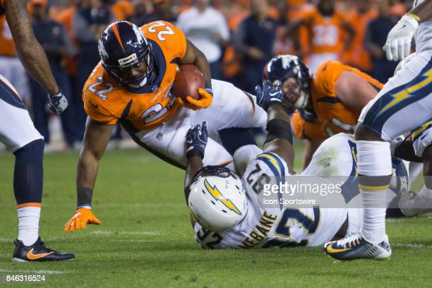 Denver Broncos running back CJ Anderson runs the ball during the Los Angeles Chargers vs Denver Broncos Monday Night Football game on September 11 at...