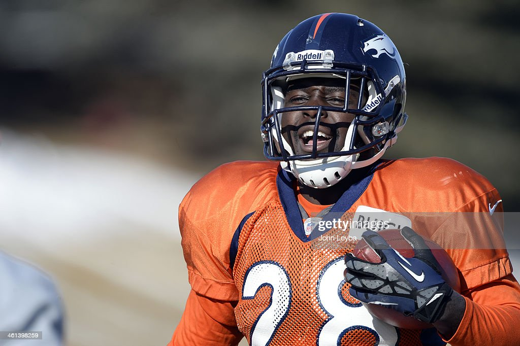 Denver Broncos running back Montee Ball (28) runs through drills during practice January 8, 2014 at Dove Valley. The Denver Broncos are preparing for their Divisional Game against the San Diego Chargers at Sports Authority Field.