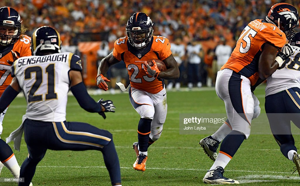 Denver Broncos running back Ronnie Hillman rushes in for a touchdown during the fourth quarter against the Los Angeles Rams August 27 2016 at Sports...