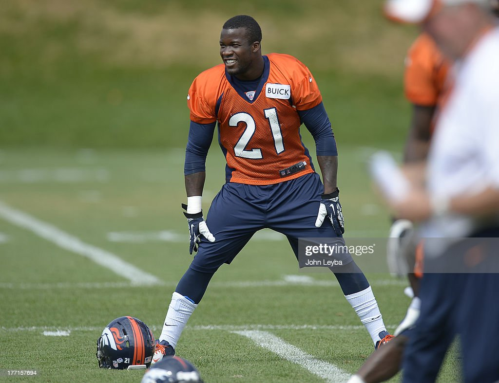 Denver Broncos running back Ronnie Hillman (21) stretches during practice August 22, 2013 at Dove Valley