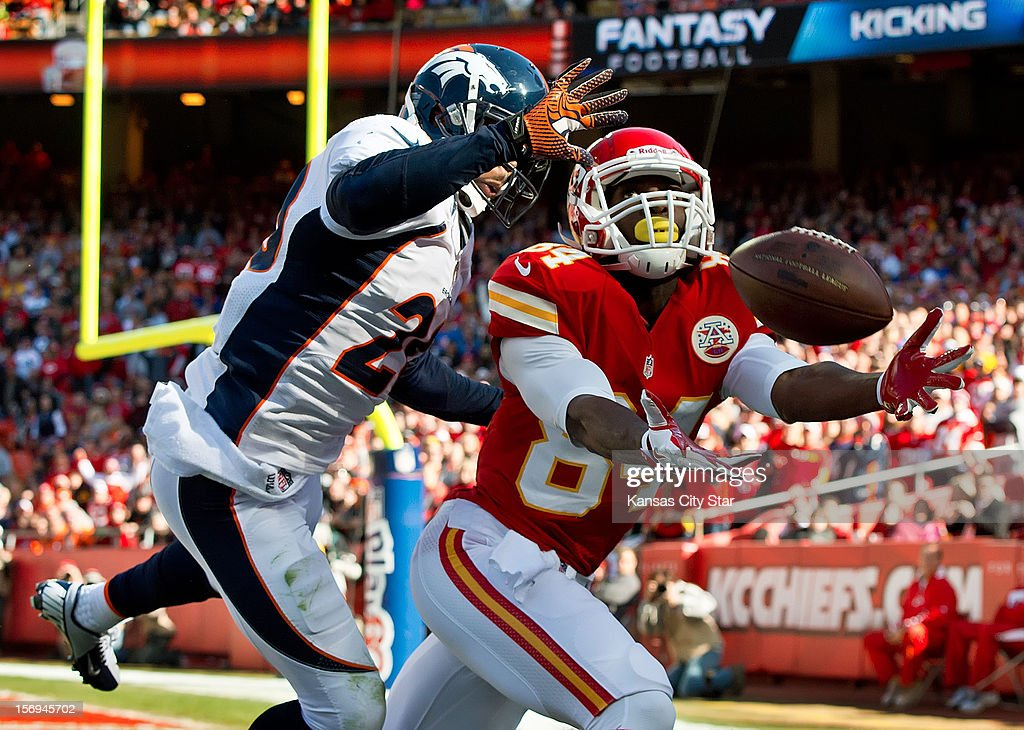 Denver Broncos strong safety Mike Adams (20) broke up a pass attempt to Kansas City Chiefs wide receiver Jamar Newsome in the first quarter at Arrowhead Stadium on Sunday, November 25, 2012, in Kansas City, Missouri. The Denver Broncos defeated the Kansas City Chiefs, 17-9.