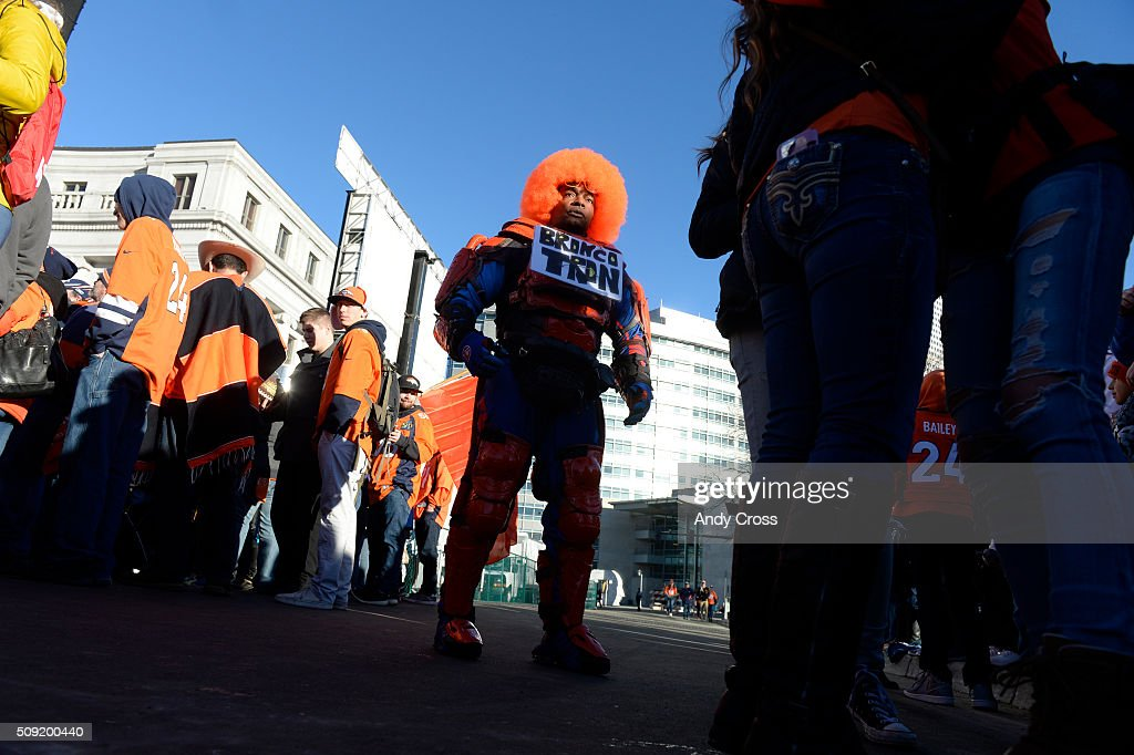 Denver Broncos super fan Bronco Tron entertains the crowd before the start of the Super Bowl 50 celebration at Civic Center Park February 07, 2016.