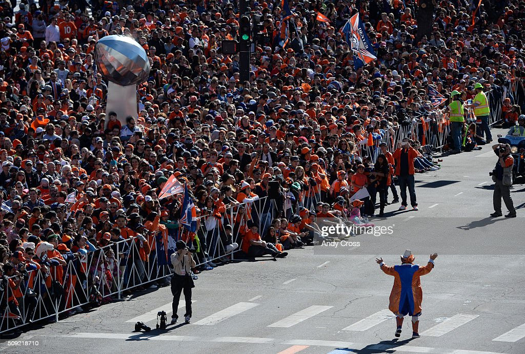 Denver Broncos super fan/icon Rocky the Lucky Leprechaun fires up the crowd before the Denver Broncos Super Bowl 50 celebration parade February 07, 2016.