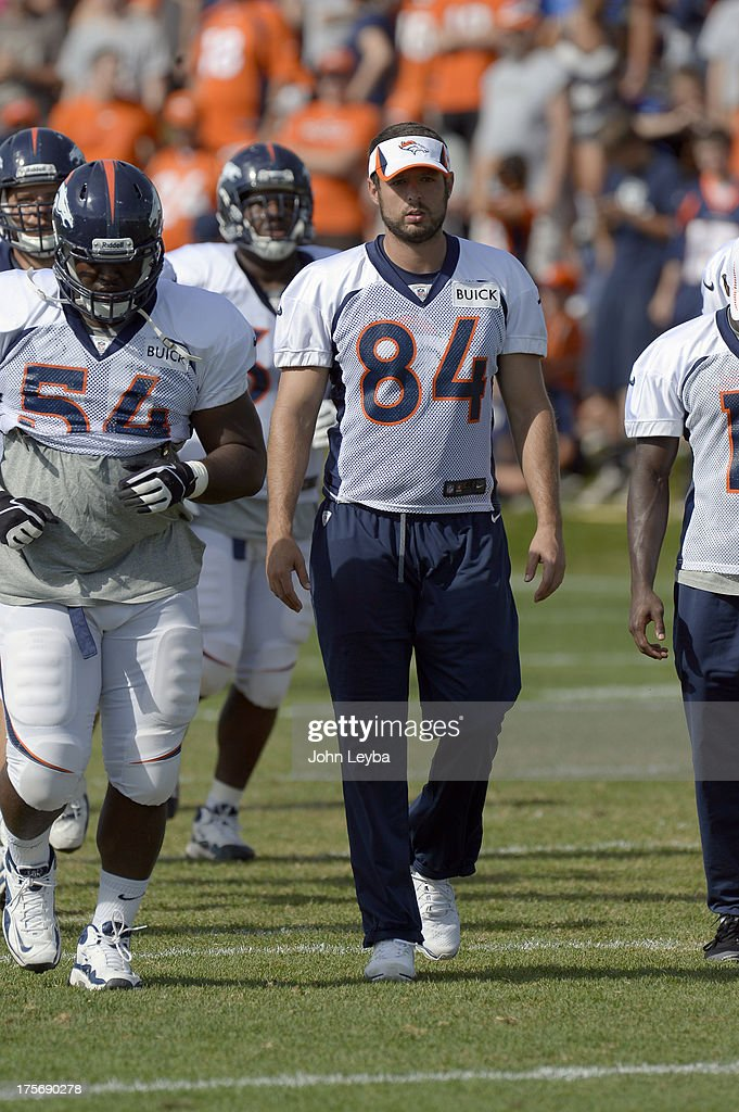 Denver Broncos TE Jacob Tamme (84) sat out practice during training camp August 6, 2013 at Dove Valley.