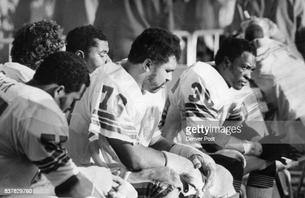 Denver Broncos There Is No Joy In Broncoville Again Defenders Godwin Turk Barney Chavous and Billy Thompson show dejection Credit Denver Post