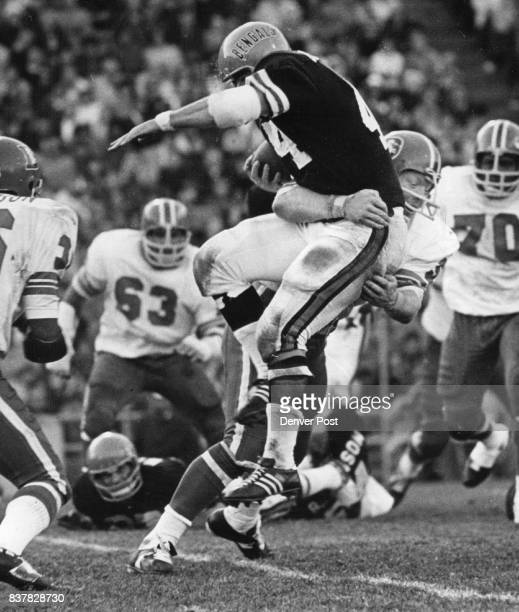 Denver Broncos This one got away Fred Forsberg Denver linebacker appears to have Cincinnati's Doug Dressler dead to rights on this tackle right Wrong...