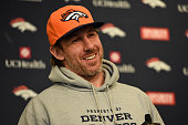 Denver Broncos tight end Owen Daniels addresses the media during a press conference January 25 2016 at UCHealth Training Center