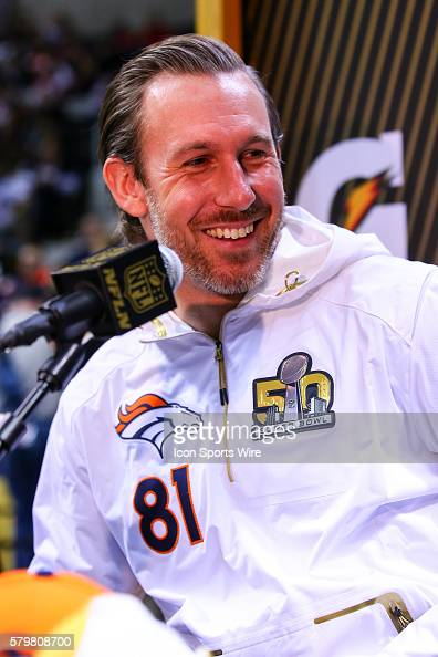 Denver Broncos tight end Owen Daniels during Super Bowl 50 Opening Night held at the SAP Center in San Jose California