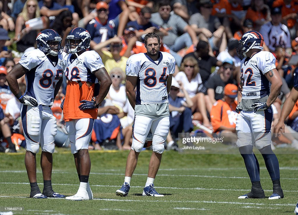 Denver Broncos Virgil Green (85) WR Demaryius Thomas TE Jacob Tamme (84) and Jake O'Connell during training camp August 5, 2013 at Dove Valley.