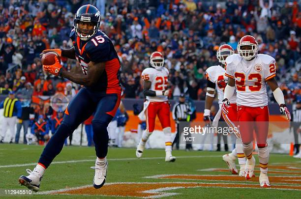 Denver Broncos wide receiver Brandon Marshall catches a touchdown pass against the Kansas City Chiefs in the second quarter The Broncos defeated the...