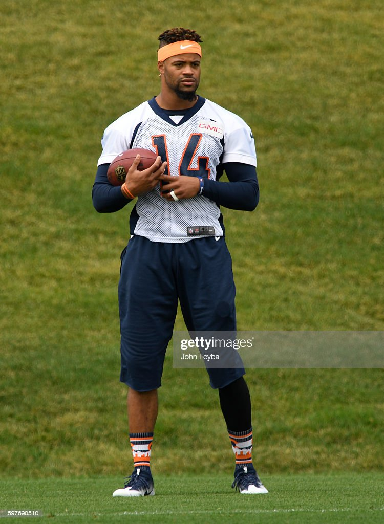 Denver Broncos wide receiver Cody Latimer watches drills during practice August 29 2016 at Dove Valley
