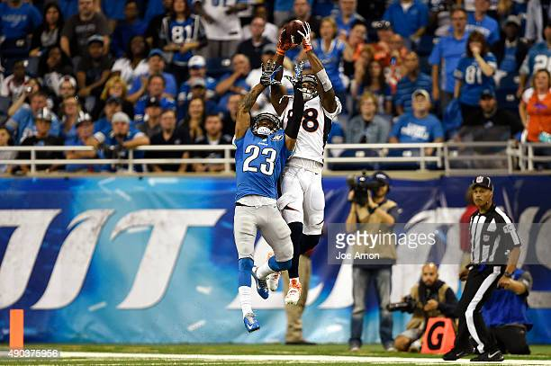 Denver Broncos wide receiver Demaryius Thomas makes a catch he will turn into a touchdown at the end of the first half vs the Detroit Lions at Ford...