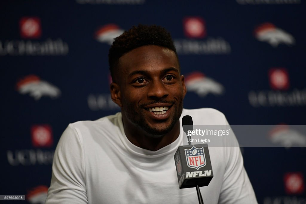 Denver Broncos wide receiver Emmanuel Sanders addresses the media after practice August 29 2016 at Dove Valley