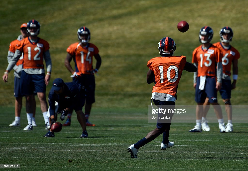 Denver Broncos wide receiver Emmanuel Sanders catches a pass during practice August 26 2016 at Dove Valley