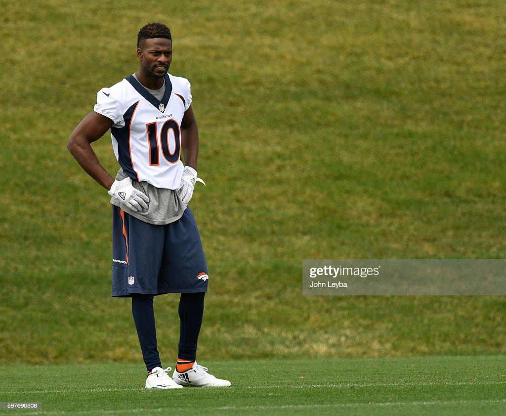 Denver Broncos wide receiver Emmanuel Sanders stands off to the side during practice August 29 2016 at Dove Valley