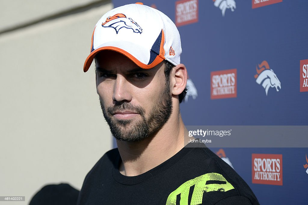 Denver Broncos wide receiver Eric Decker (87) meets with the media after practice January 8, 2014 at Dove Valley