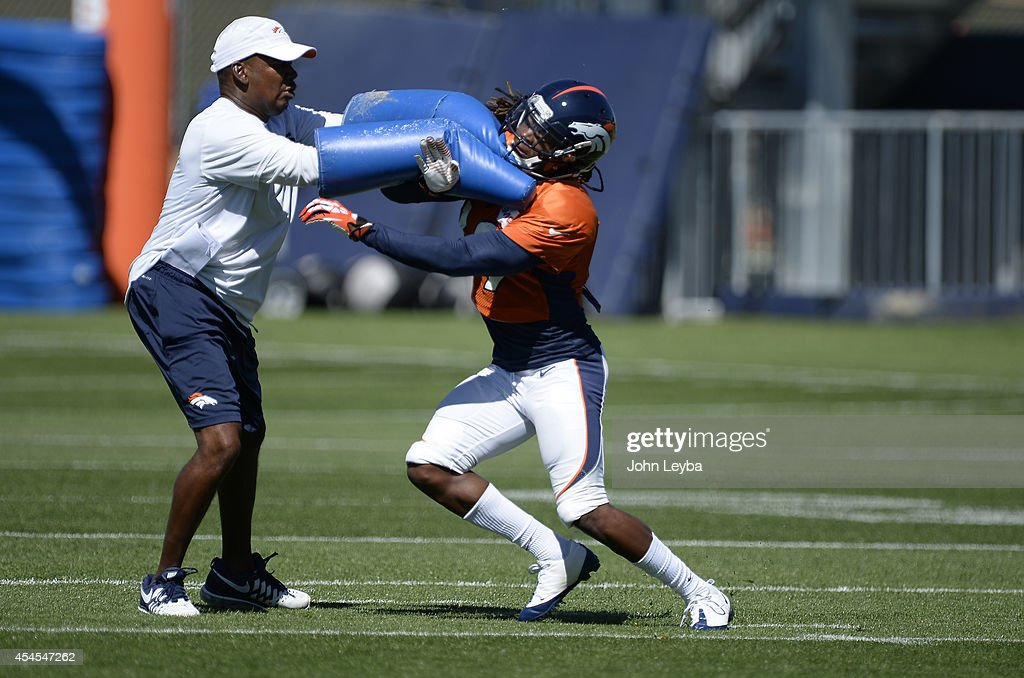Denver Broncos wide receiver <a gi-track='captionPersonalityLinkClicked' href=/galleries/search?phrase=Isaiah+Burse&family=editorial&specificpeople=7228109 ng-click='$event.stopPropagation()'>Isaiah Burse</a> (19) runs through drills during practice September 3, 2014 at Dove Valley. The team will prepare for the Indianapolis Colts on Sunday.