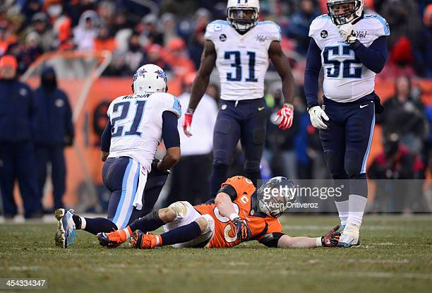 Denver Broncos wide receiver Wes Welker after getting a concussion on a hard hit in the second quarter The Denver Broncos take on the Tennessee...
