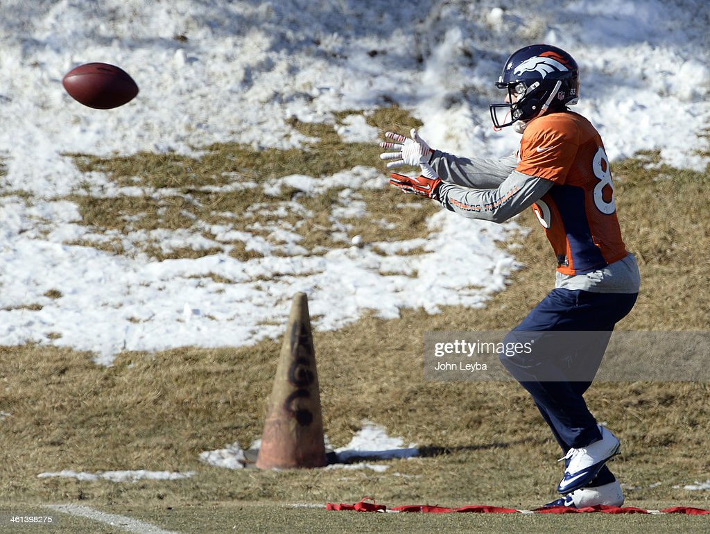 Denver Broncos wide receiver Wes Welker (83) catches a pass during practice January 8, 2014 at Dove Valley. The Denver Broncos are preparing for their Divisional Game against the San Diego Chargers at Sports Authority Field.
