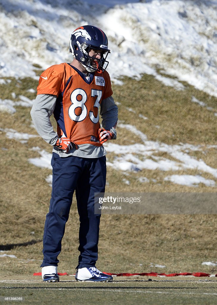 Denver Broncos wide receiver Wes Welker (83) looks on during drills at practice January 8, 2014 at Dove Valley. The Denver Broncos are preparing for their Divisional Game against the San Diego Chargers at Sports Authority Field.