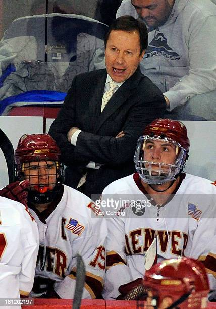 Denver coach George Gwozdecky had a word with the players during a time out in the second period The University of Denver men's hockey team hosted St...