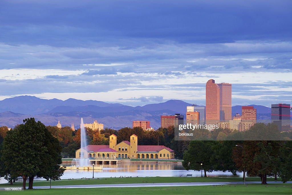 Denver Colorado City Park and Skyline at Sunrise
