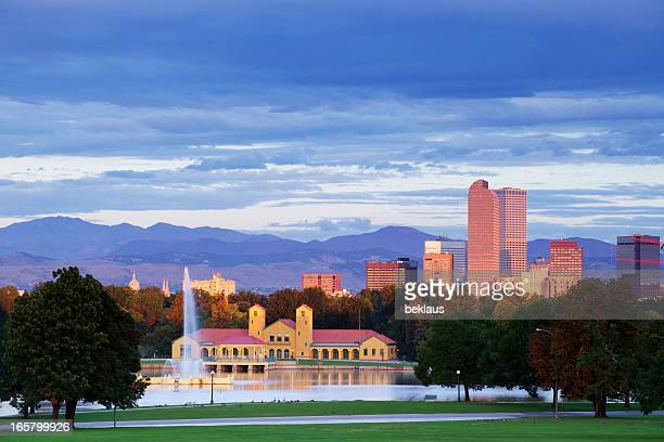 Denver Colorado City Park and Skyline at Sunrise