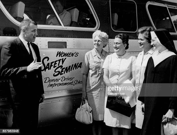 Denver Dist Judge Sherman G Finesilver Tells Women What To Look For On Freeway Tour The women from left are Mrs Genevieve Carroll Mrs Bert Uland Mrs...