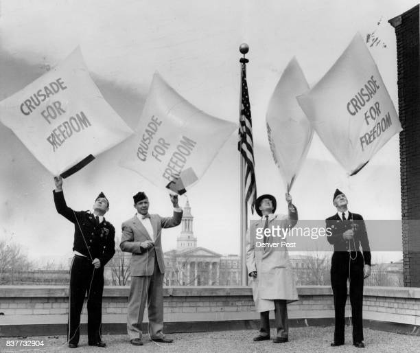 Denver Four Crusade for Freedom balloons of the same type as used to send Free Europe press material to iron curtain countries are launched at...