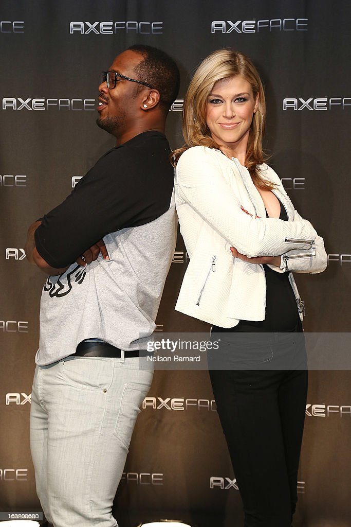 Denver linebacker Von Miller (L) and action film star Adrianne Palicki attend the AXE Facescore event at Drive-In Studio on March 5, 2013 in New York City.