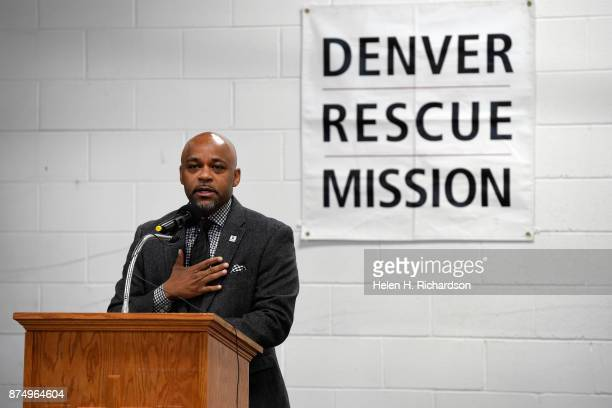 DENVER CO NOVEMBER 15 Denver Mayor Michael B Hancock speaks during a press conference to officially open a new homeless shelter for men called the...