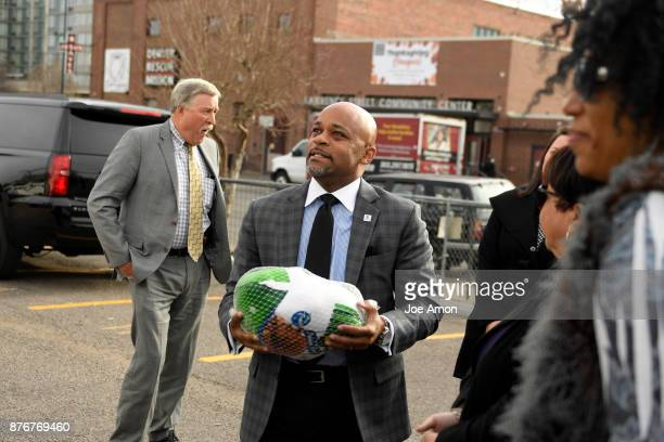 Denver Mayor Michael B Hancock with turkey and Administration Appointees join the Denver Rescue Mission on Monday to help collect turkeys for their...