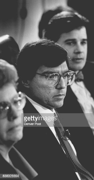 Denver Mayor Pena is flanked by Thornton Mayor Helen Carpenter and Aurora Mayor Dennis Champine as he listens to other members of the yet unnamed...