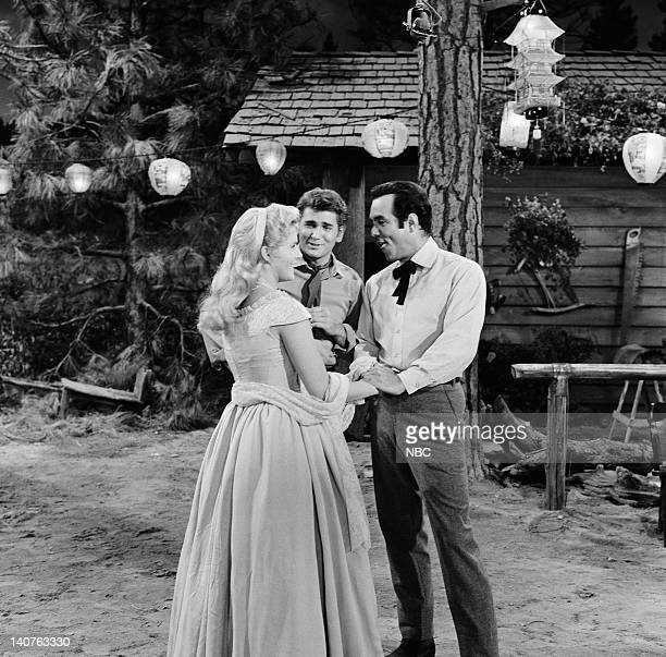 BONANZA 'Denver McKee' Episode 6 Pictured Natalie Trundy as Connie McKee Michael Landon as Joseph 'Little Joe' Cartwright Pernell Roberts as Adam...