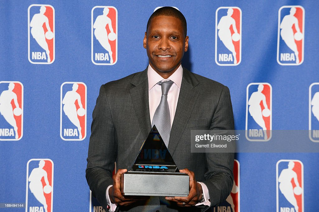 Denver Nuggets Executive Vice President of Basketball Operations Masai Ujiri poses for a photo after being named 2012-2013 NBA Executive of the Year on May 9, 2013 at the Pepsi Center in Denver, Colorado.