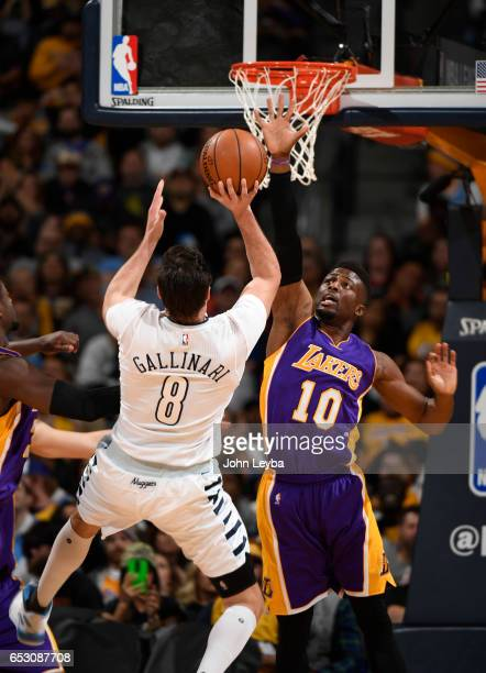Denver Nuggets forward Danilo Gallinari takes an off balance shot over Los Angeles Lakers guard David Nwaba during gate third quarter on March 13...