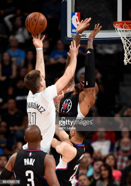 Denver Nuggets forward Juancho Hernangomez goes up for a shot on LA Clippers center Marreese Speights during the third quarter on March 16 2017 in...
